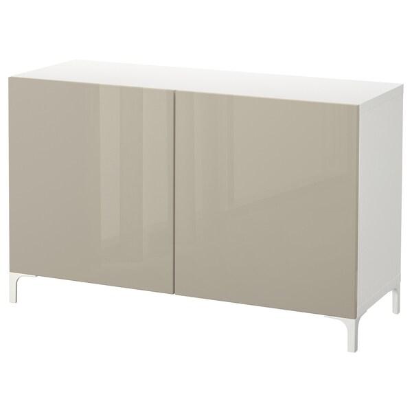 BESTÅ Combinaison rangement portes, blanc/Selsviken brillant/beige, 120x42x74 cm