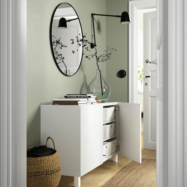 BESTÅ Combinaison rangement portes, blanc/Timmerviken/Stubbarp blanc, 120x42x74 cm