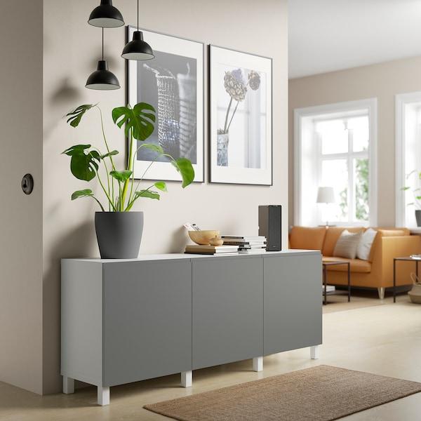 BESTÅ Combinaison rangement portes, blanc/Västerviken/Stubbarp gris foncé, 180x42x74 cm