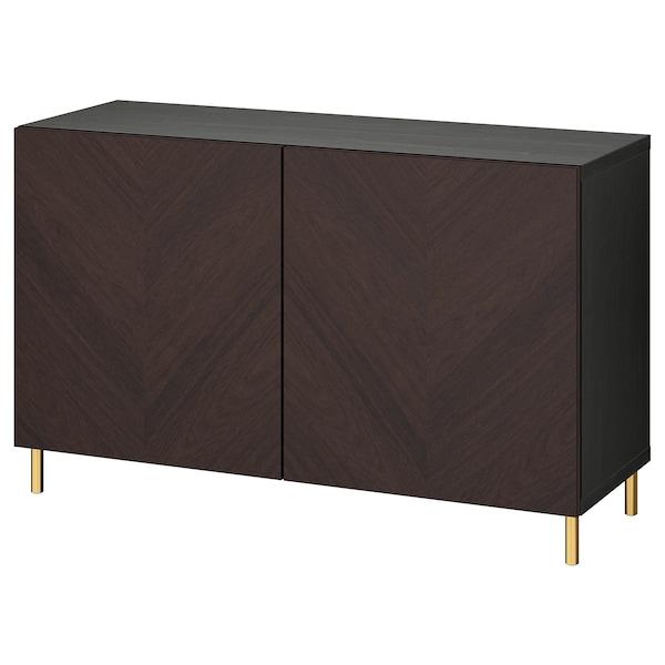 BESTÅ Combinaison rangement portes, brun noir Hedeviken/Ösarp/brun foncé placage chêne teinte, 120x42x74 cm