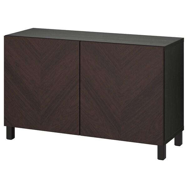 BESTÅ Combinaison rangement portes, brun noir Hedeviken/Stubbarp/brun foncé placage chêne teinte, 120x42x74 cm