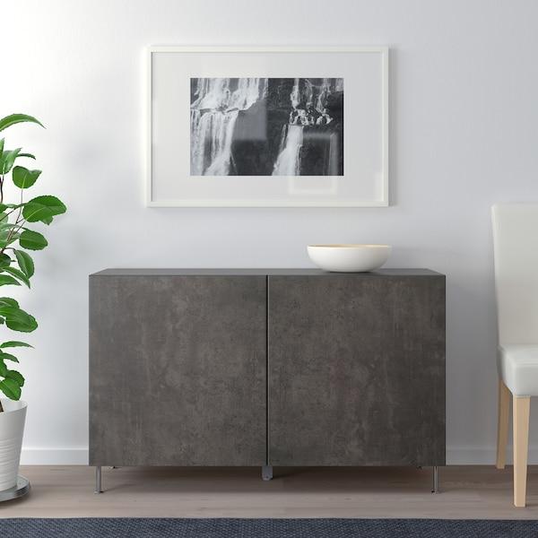 BESTÅ Combinaison rangement portes, brun noir Kallviken/Stallarp/gris foncé imitation ciment, 120x40x74 cm