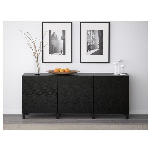 BESTÅ Combinaison rangement portes, brun noir/Laxviken noir, 180x42x65 cm