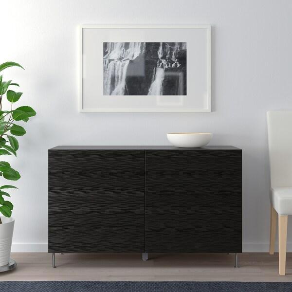 BESTÅ Combinaison rangement portes, brun noir/Laxviken/Stallarp noir, 120x40x74 cm