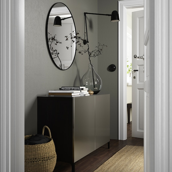 BESTÅ Combinaison rangement portes, brun noir/Riksviken/Nannarp effet bronze clair, 120x42x74 cm