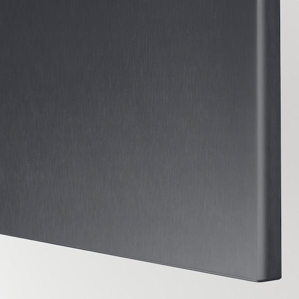 BESTÅ Combinaison rangement portes, brun noir/Riksviken/Stubbarp effet étain noir brossé, 120x42x74 cm