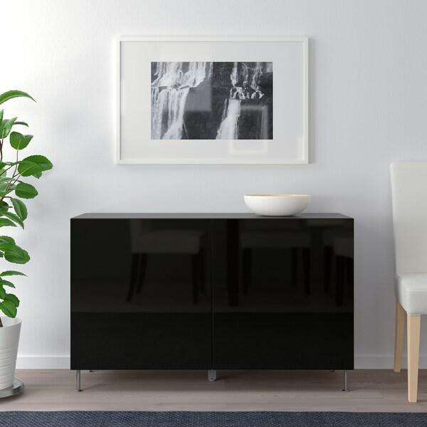BESTÅ Combinaison rangement portes, brun noir/Selsviken/Stallarp brillant/noir, 120x40x74 cm