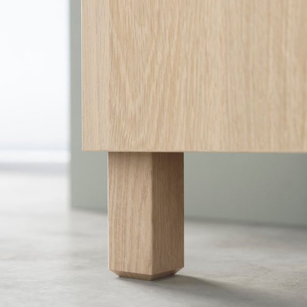 BESTÅ Combinaison rangement portes, effet chêne blanchi Kallviken/Stubbarp/gris foncé imitation ciment, 120x42x74 cm