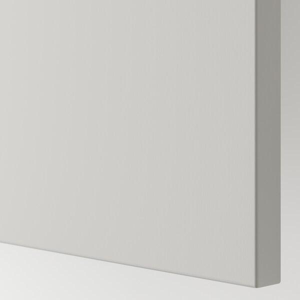BESTÅ Combinaison rangement portes, effet chêne blanchi/Lappviken gris clair, 180x42x65 cm