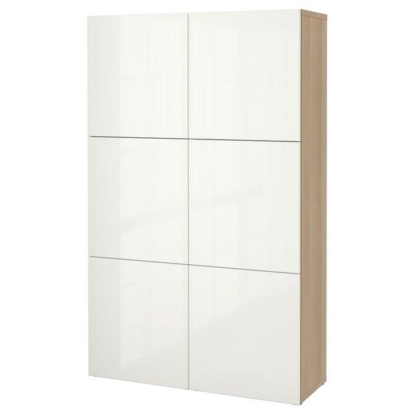 BESTÅ Combinaison rangement portes, effet chêne blanchi/Selsviken brillant/blanc, 120x40x192 cm
