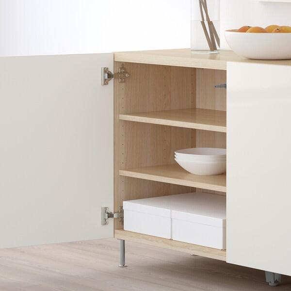 BESTÅ Combinaison rangement portes, effet chêne blanchi/Selsviken/Stallarp brillant/blanc, 120x40x74 cm