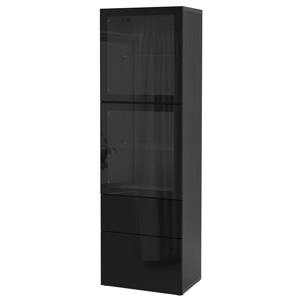 BESTÅ Combinaison rangement ptes vitrées, brun noir/Selsviken brillant/noir verre transparent, 60x42x193 cm
