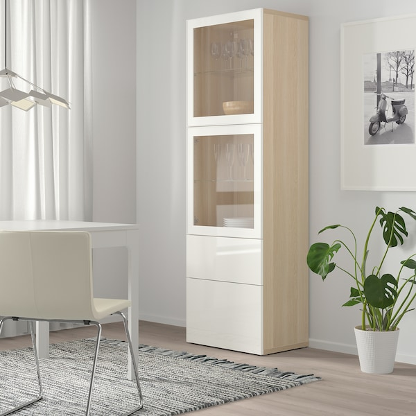BESTÅ Combinaison rangement ptes vitrées, effet chêne blanchi/Selsviken brillant/blanc verre transparent, 60x42x193 cm
