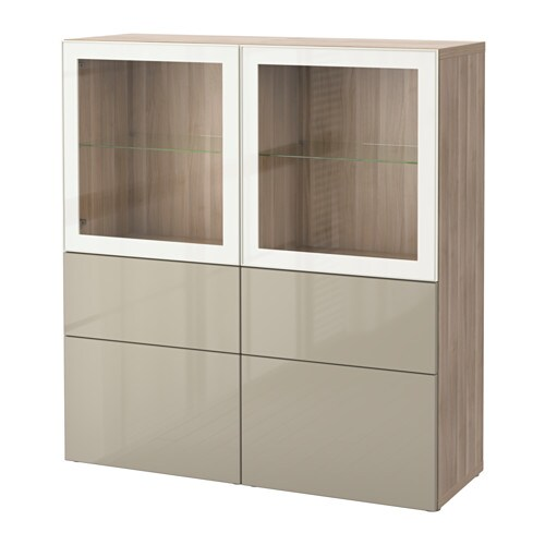 best combinaison rangement ptes vitr es motif noyer teint gris selsviken brillant beige. Black Bedroom Furniture Sets. Home Design Ideas