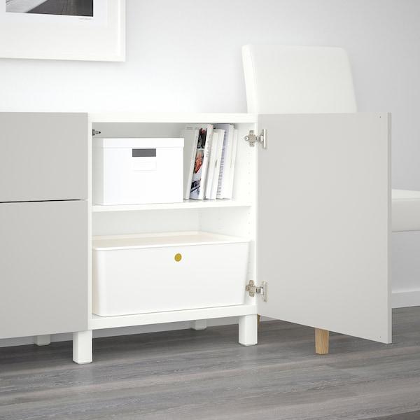 BESTÅ Combinaison rangement tiroirs, blanc/Lappviken gris clair, 180x42x65 cm
