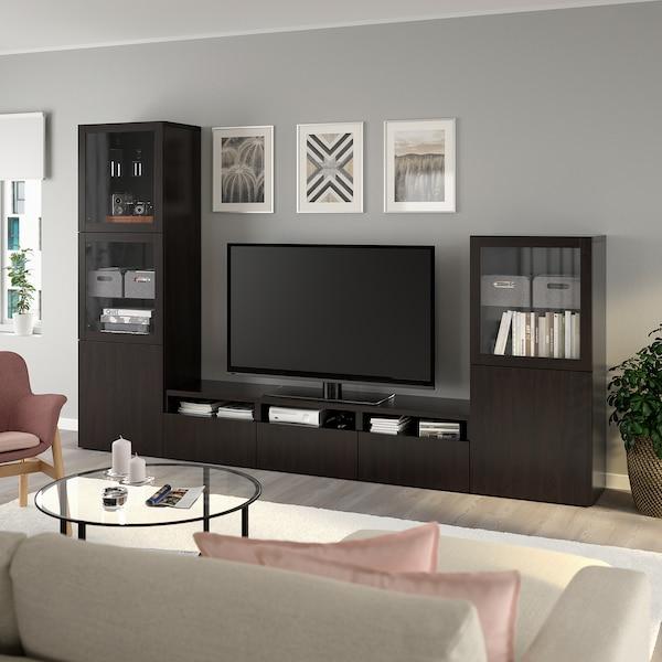 BESTÅ Rangement TV/vitrines, brun noir/Lappviken brun noir verre transparent, 300x42x193 cm
