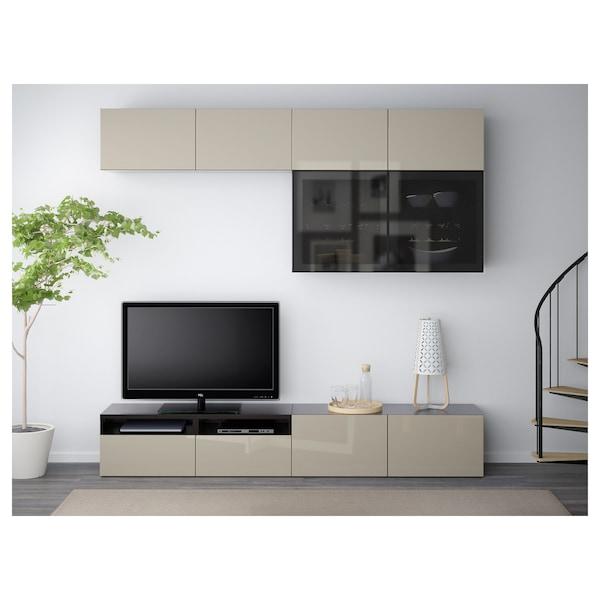 BESTÅ Rangement TV/vitrines, brun noir/Selsviken brillant/beige verre fumé, 240x40x230 cm