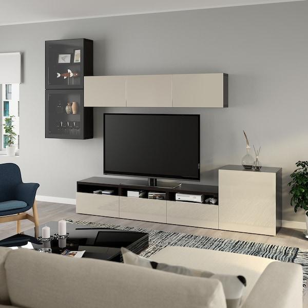 BESTÅ Rangement TV/vitrines, brun noir/Selsviken brillant/beige verre transparent, 300x42x211 cm