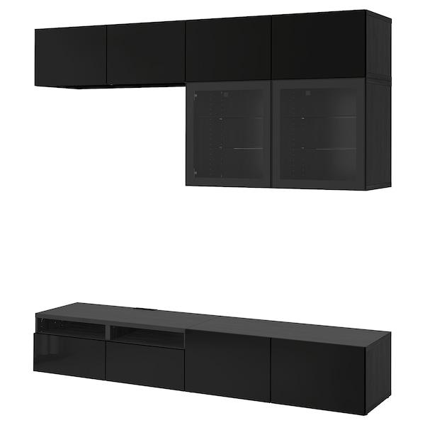 BESTÅ Rangement TV/vitrines, brun noir/Selsviken brillant/noir verre transparent, 240x40x230 cm