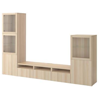 BESTÅ Rangement TV/vitrines, effet chêne blanchi/Lappviken motif chêne blanchi verre transp, 300x42x193 cm