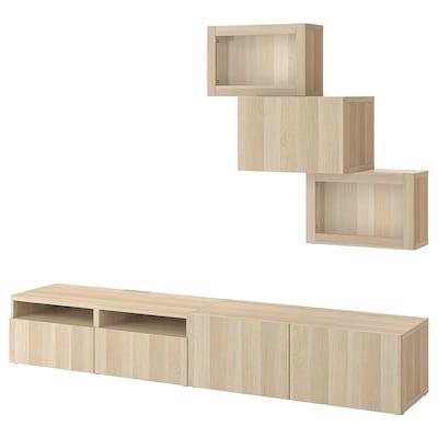BESTÅ Rangement TV/vitrines, effet chêne blanchi/Lappviken motif chêne blanchi verre transp, 240x42x190 cm