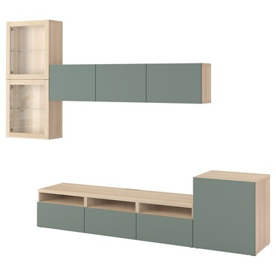BESTÅ Rangement TV/vitrines, effet chêne blanchi/Notviken gris-vert verre transparent, 300x42x211 cm