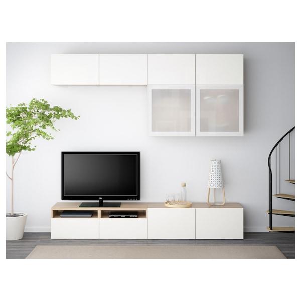 BESTÅ Rangement TV/vitrines, effet chêne blanchi/Selsviken brillant/blanc verre givré, 240x40x230 cm