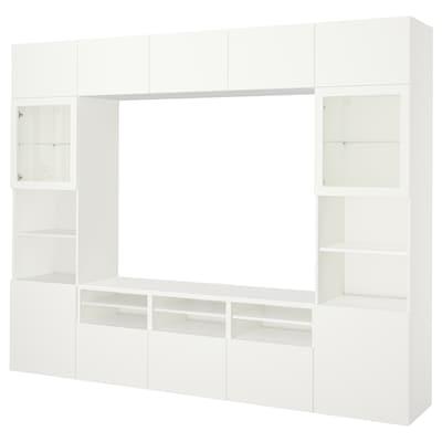 BESTÅ Rangement TV/vitrines, Lappviken/Sindvik blanc verre transparent, 300x40x230 cm