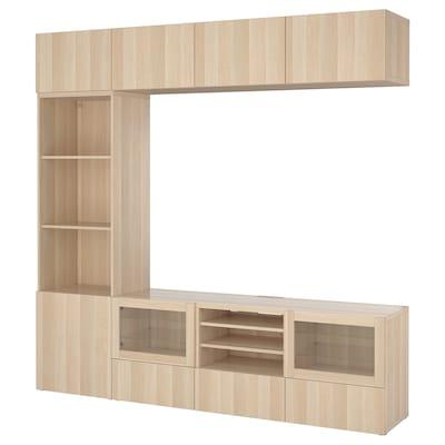 BESTÅ Rangement TV/vitrines, Lappviken/Sindvik motif chêne blanchi verre transp, 240x40x230 cm
