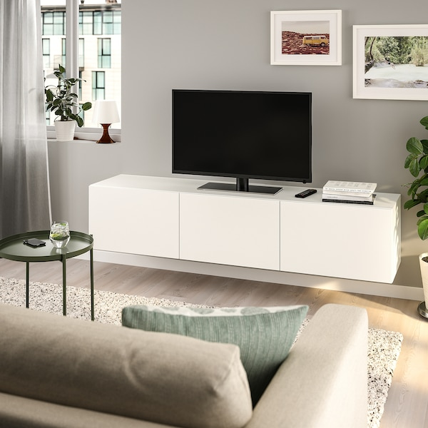 Banc Tv Avec Portes Besta Blanc Lappviken Blanc