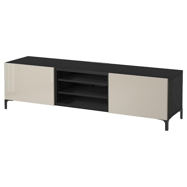 Besta Banc Tv Avec Tiroirs Brun Noir Selsviken Brillant Beige Ikea