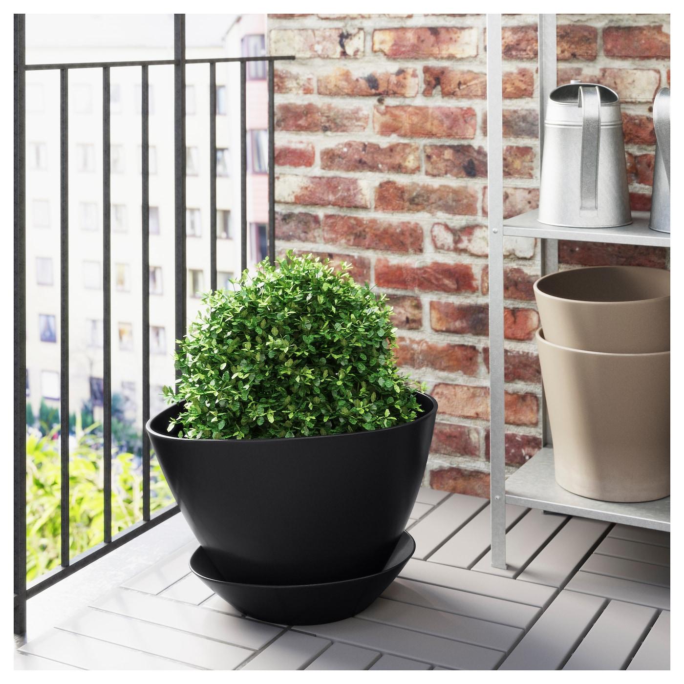 bigarr pot avec coupelle int rieur ext rieur noir 32 cm ikea. Black Bedroom Furniture Sets. Home Design Ideas