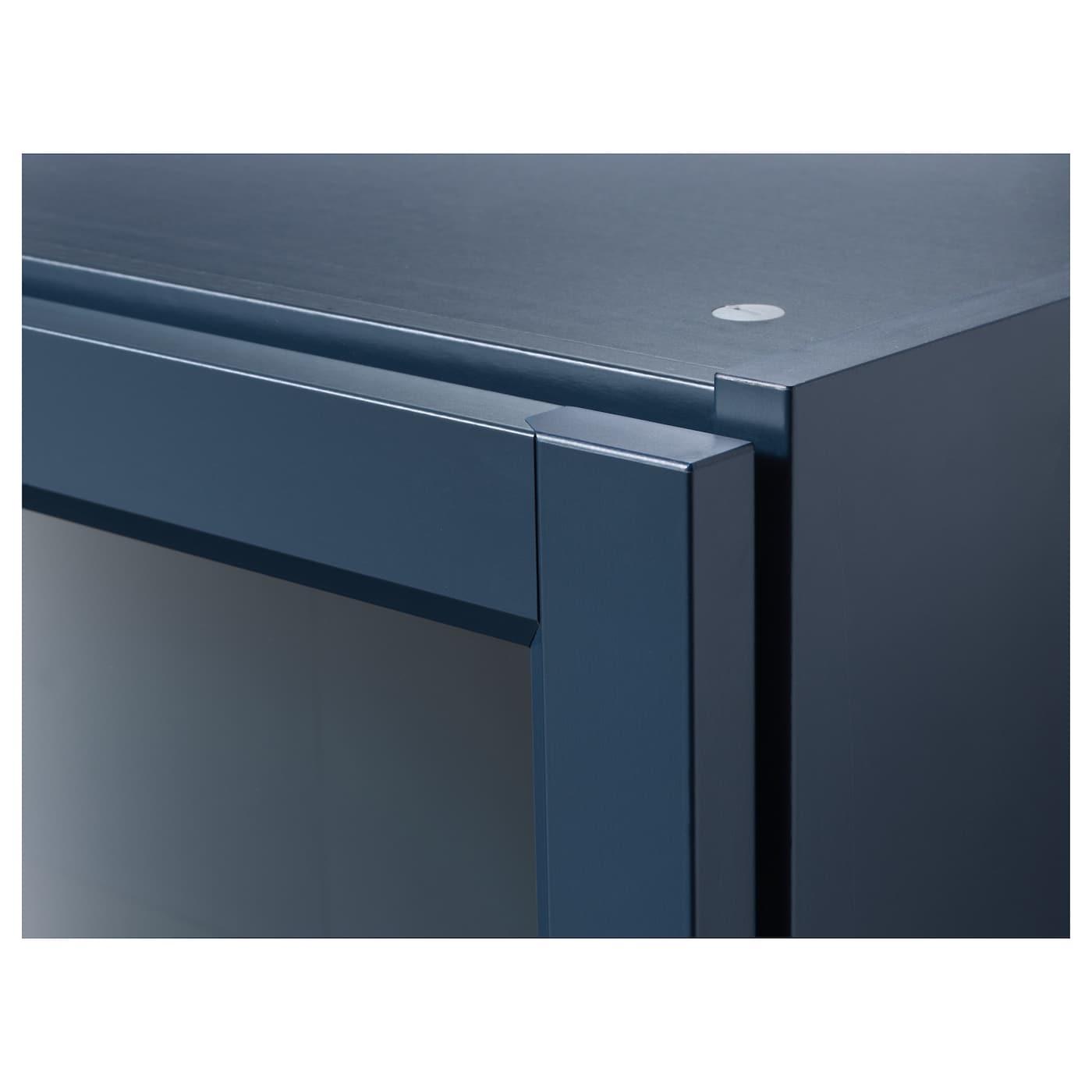 billy biblioth que vitr e bleu fonc 80x30x202 cm ikea. Black Bedroom Furniture Sets. Home Design Ideas