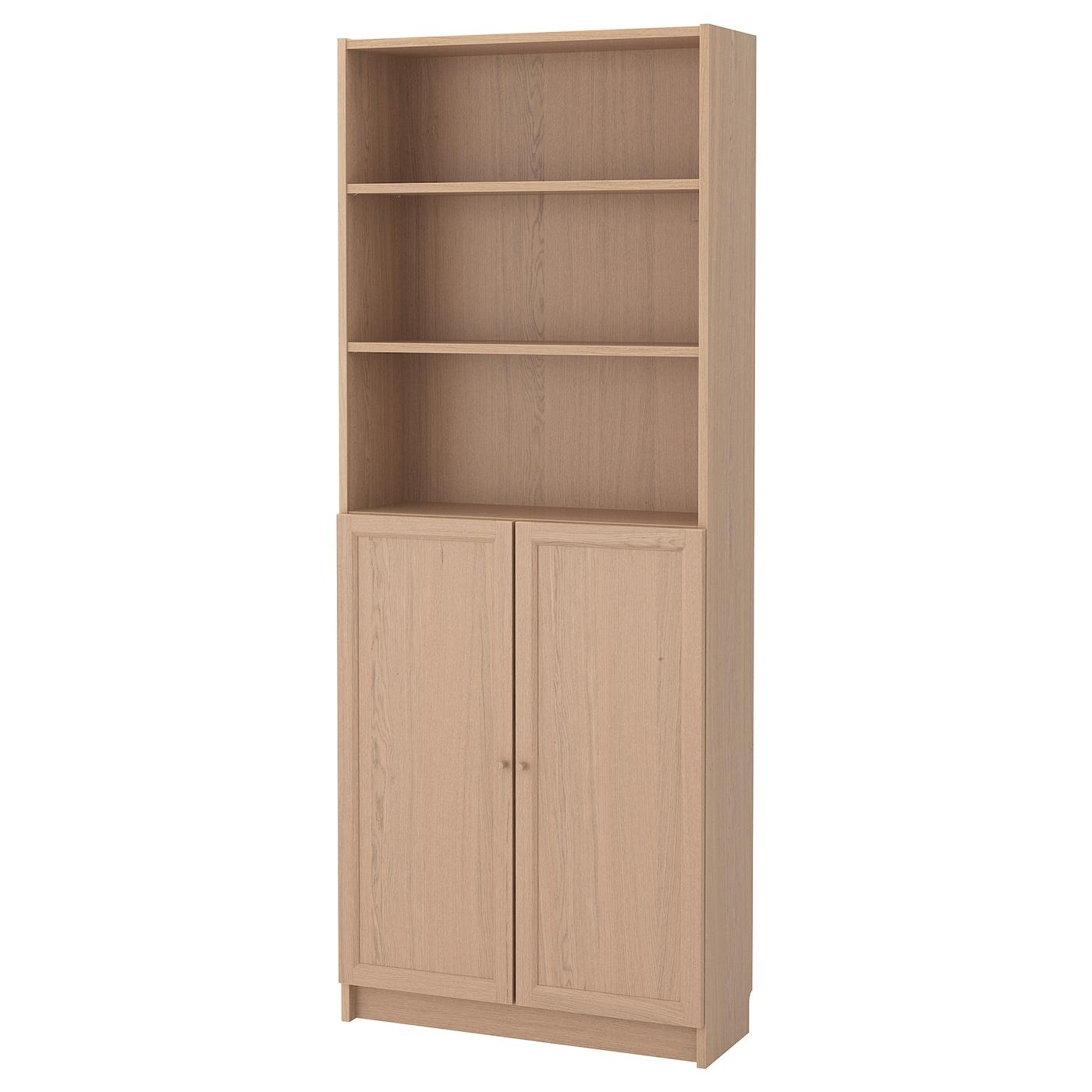 billy oxberg biblioth que avec portes plaqu ch ne blanchi 80 x 30 x 202 cm ikea. Black Bedroom Furniture Sets. Home Design Ideas