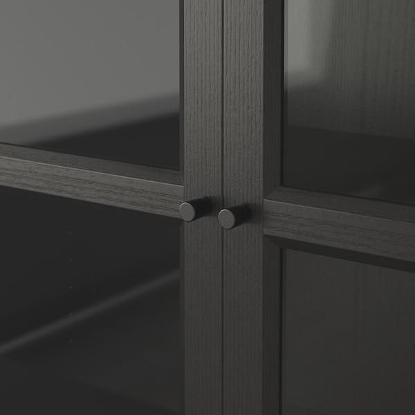 BILLY / OXBERG Bibliothèque, brun noir/verre, 160x30x202 cm