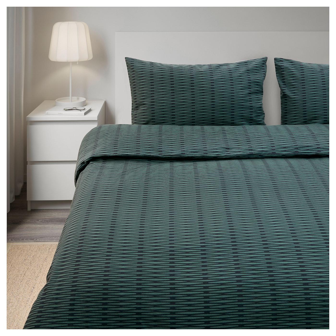 Bl suga housse de couette et 2 taies vert 240x220 50x60 cm for Ikea housse de couette 240x220