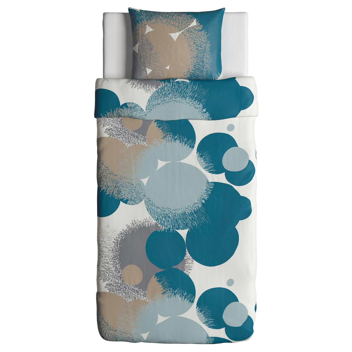 Bolltistel housse de couette et taie bleu 150x200 50x60 cm for Housse de couette flanelle ikea