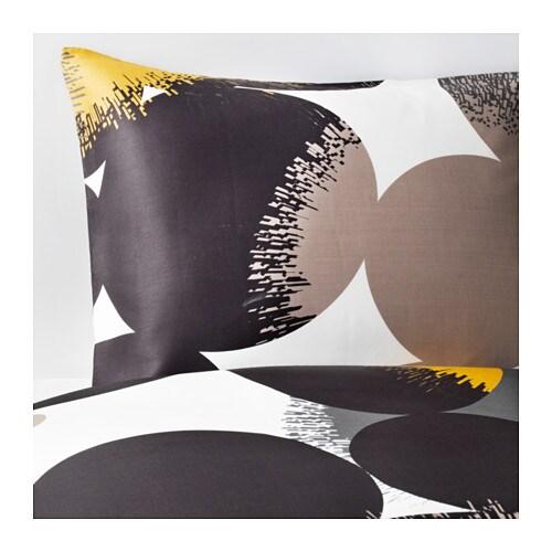 Bolltistel housse de couette et taie 150x200 50x60 cm ikea - Housse de couette grise et jaune ...