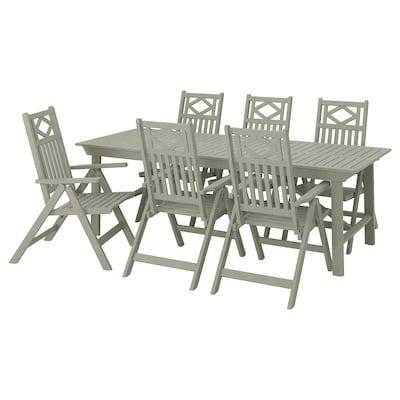 BONDHOLMEN Table+6 chaises dossier réglable,ex, teinté gris