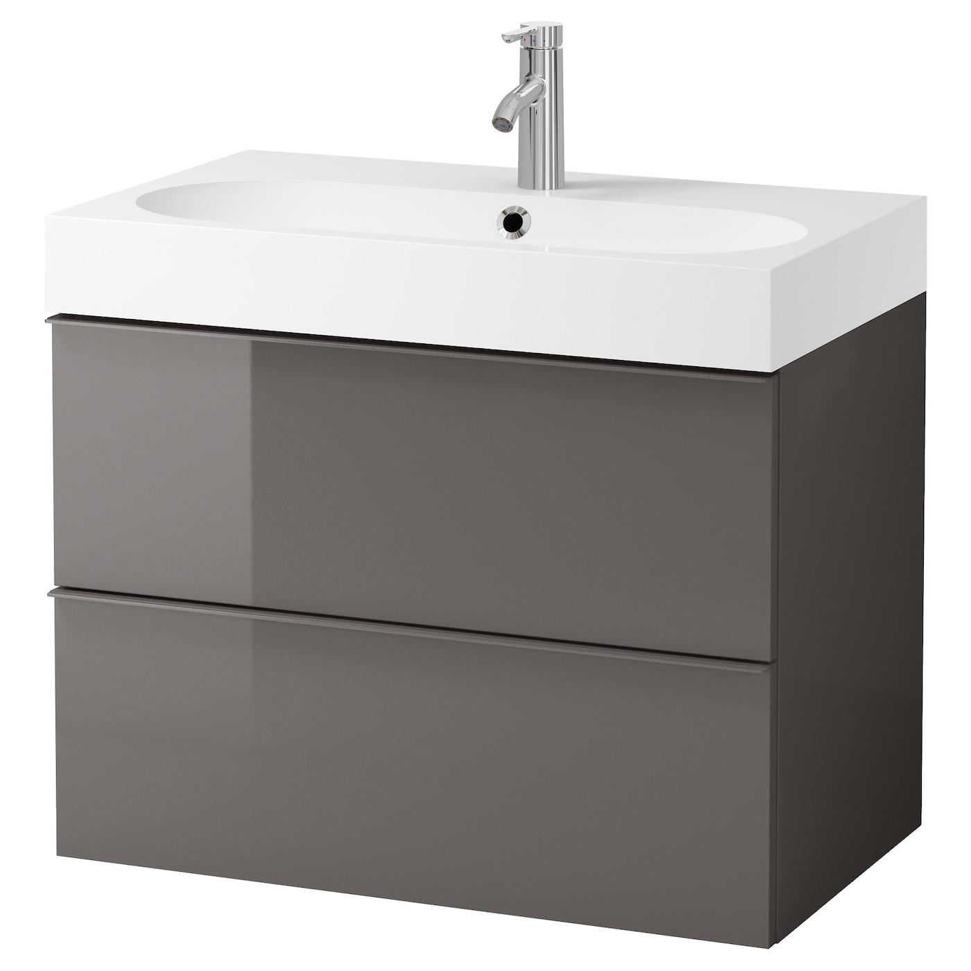 br viken godmorgon meuble lavabo 2tir brillant gris 80x49x68 cm ikea. Black Bedroom Furniture Sets. Home Design Ideas