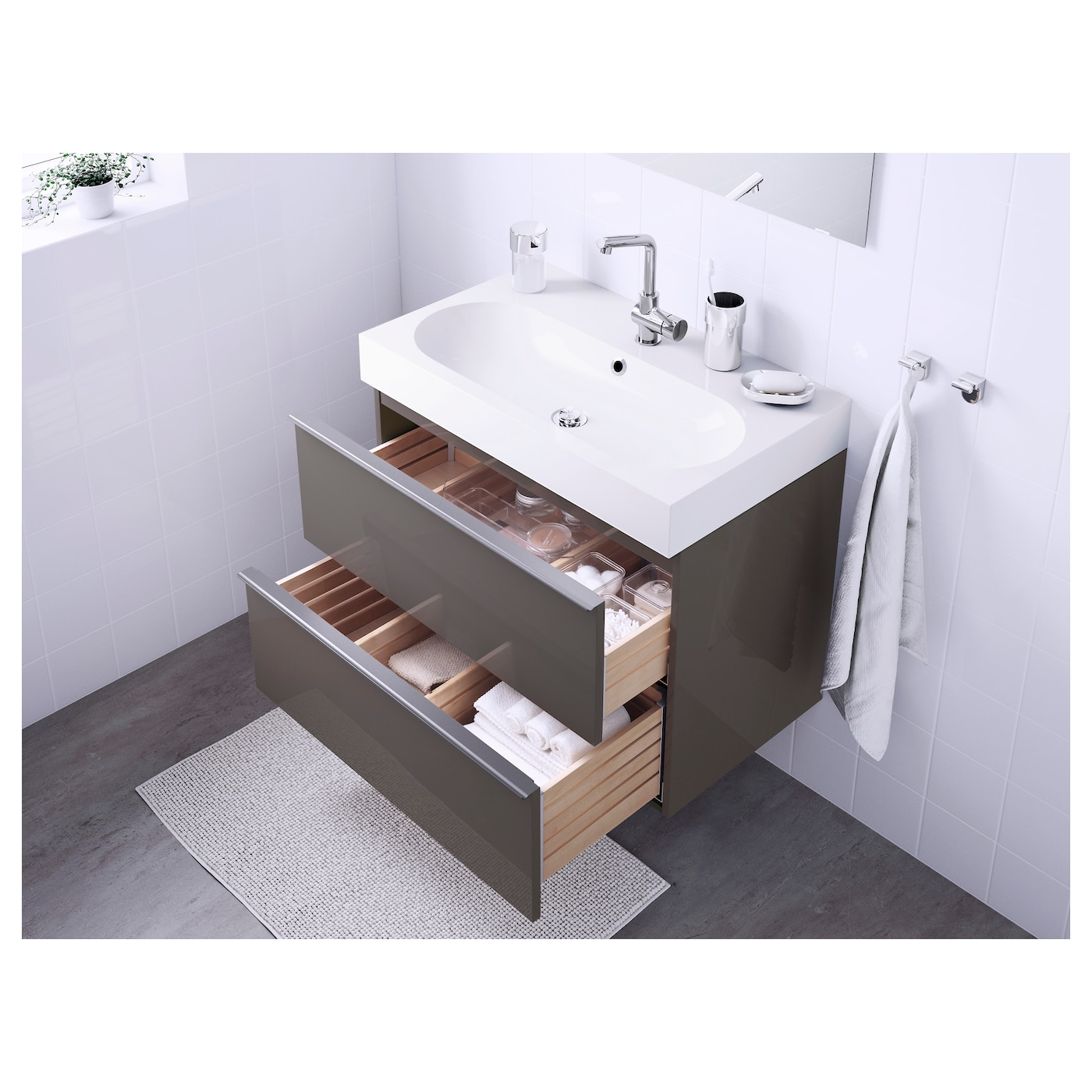 br viken godmorgon meuble lavabo 2tir brillant gris 80x49x68 cm ikea. Black Bedroom Furniture Sets. Home Design Ideas