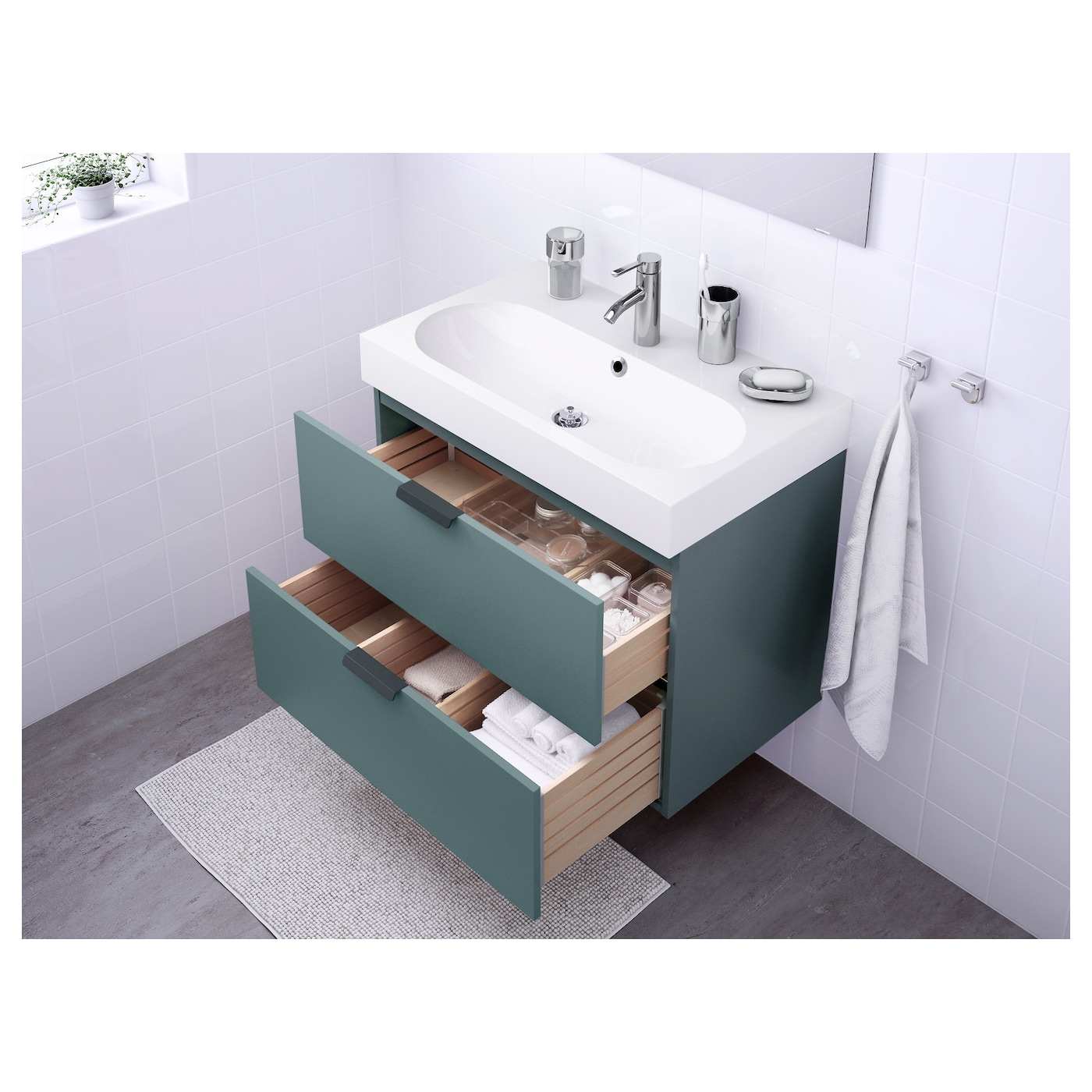 br viken godmorgon meuble lavabo 2tir gris turquoise 80 x 48 x 68 cm ikea. Black Bedroom Furniture Sets. Home Design Ideas
