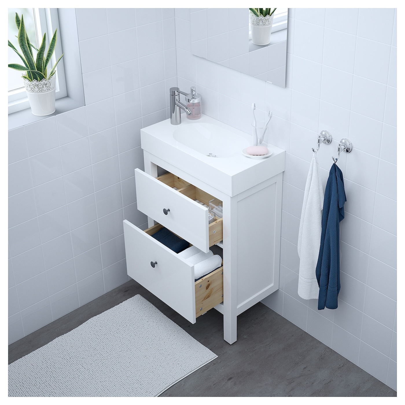 br viken hemnes meuble lavabo 2tir blanc 60x33x93 cm ikea. Black Bedroom Furniture Sets. Home Design Ideas