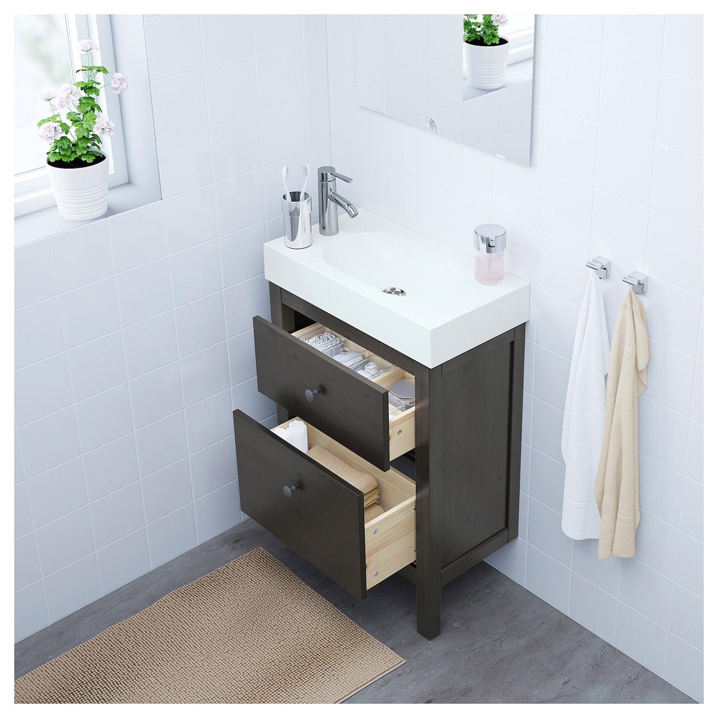 br viken hemnes meuble lavabo 2tir brun noir 62 x 33 x 93 cm ikea. Black Bedroom Furniture Sets. Home Design Ideas