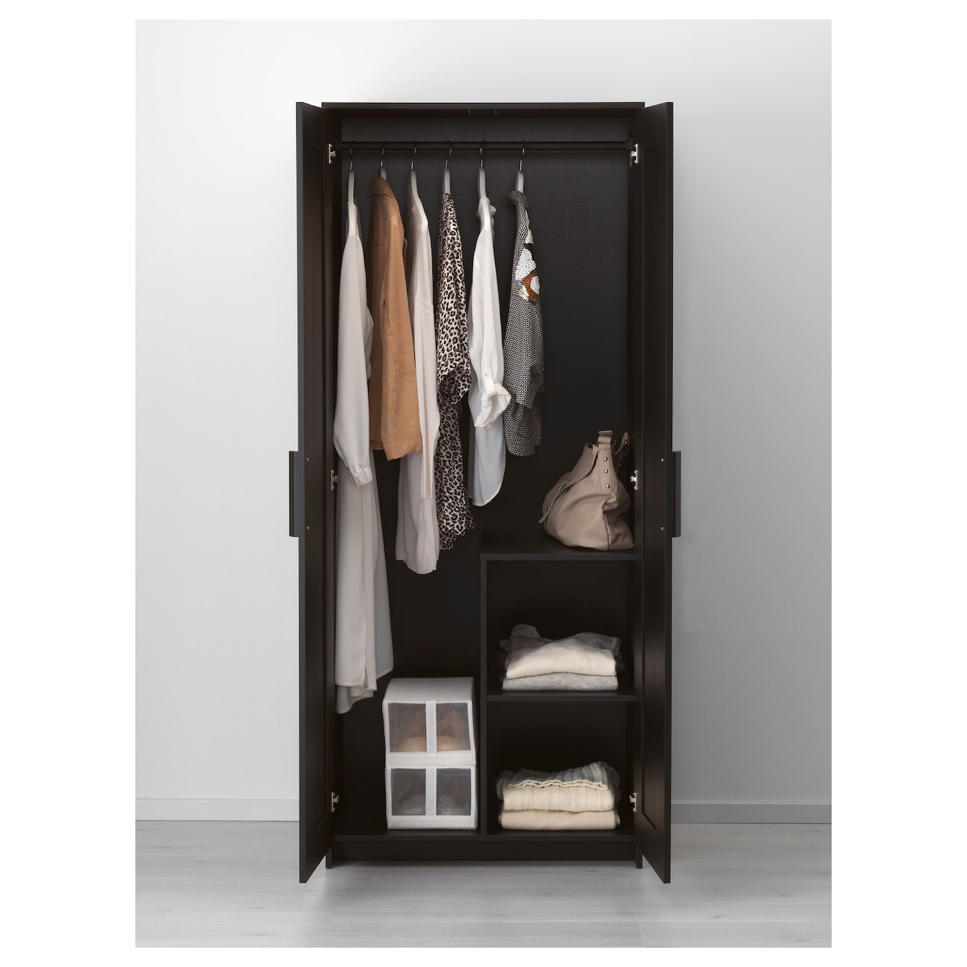 brimnes armoire 2 portes noir 78x190 cm ikea. Black Bedroom Furniture Sets. Home Design Ideas