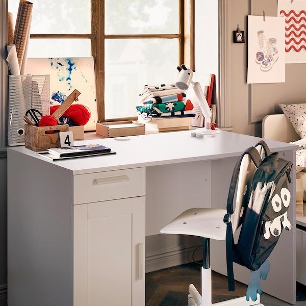BRIMNES Bureau, blanc, 120x65 cm