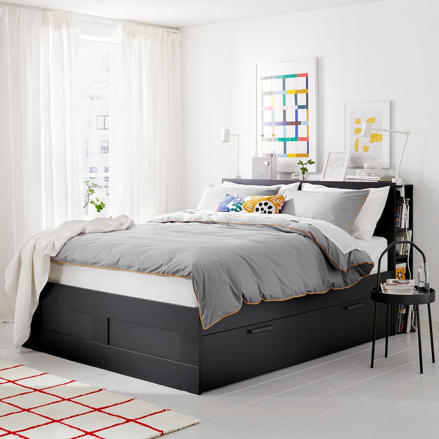 brimnes cadre de lit rangement t te de lit noir leirsund 160 x 200 cm ikea. Black Bedroom Furniture Sets. Home Design Ideas