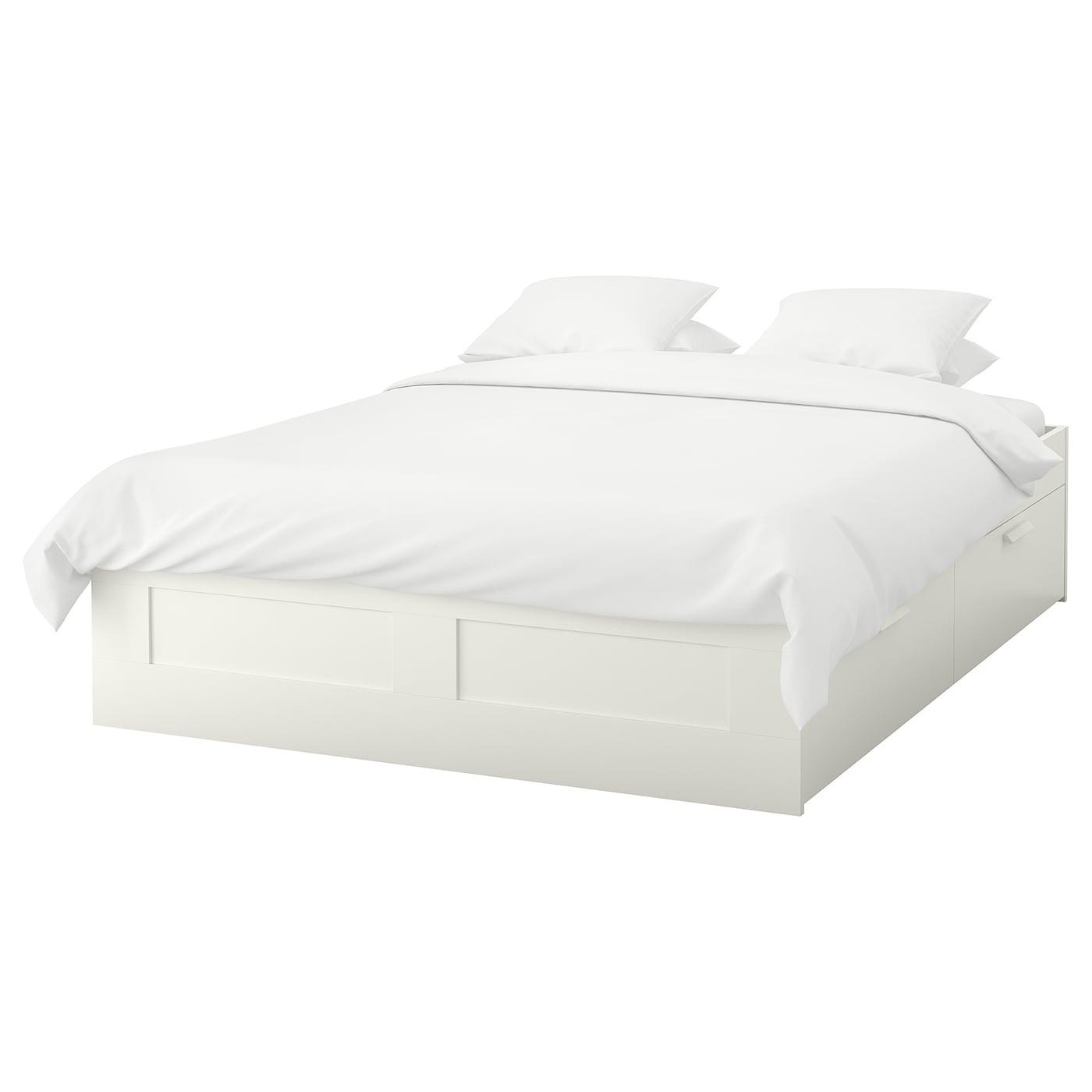 brimnes cadre lit avec rangement blanc leirsund 160x200 cm. Black Bedroom Furniture Sets. Home Design Ideas