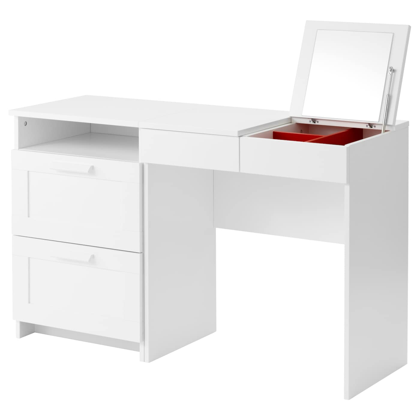 Brimnes coiffeuse commode 2 tiroirs blanc ikea for Commode miroir ikea