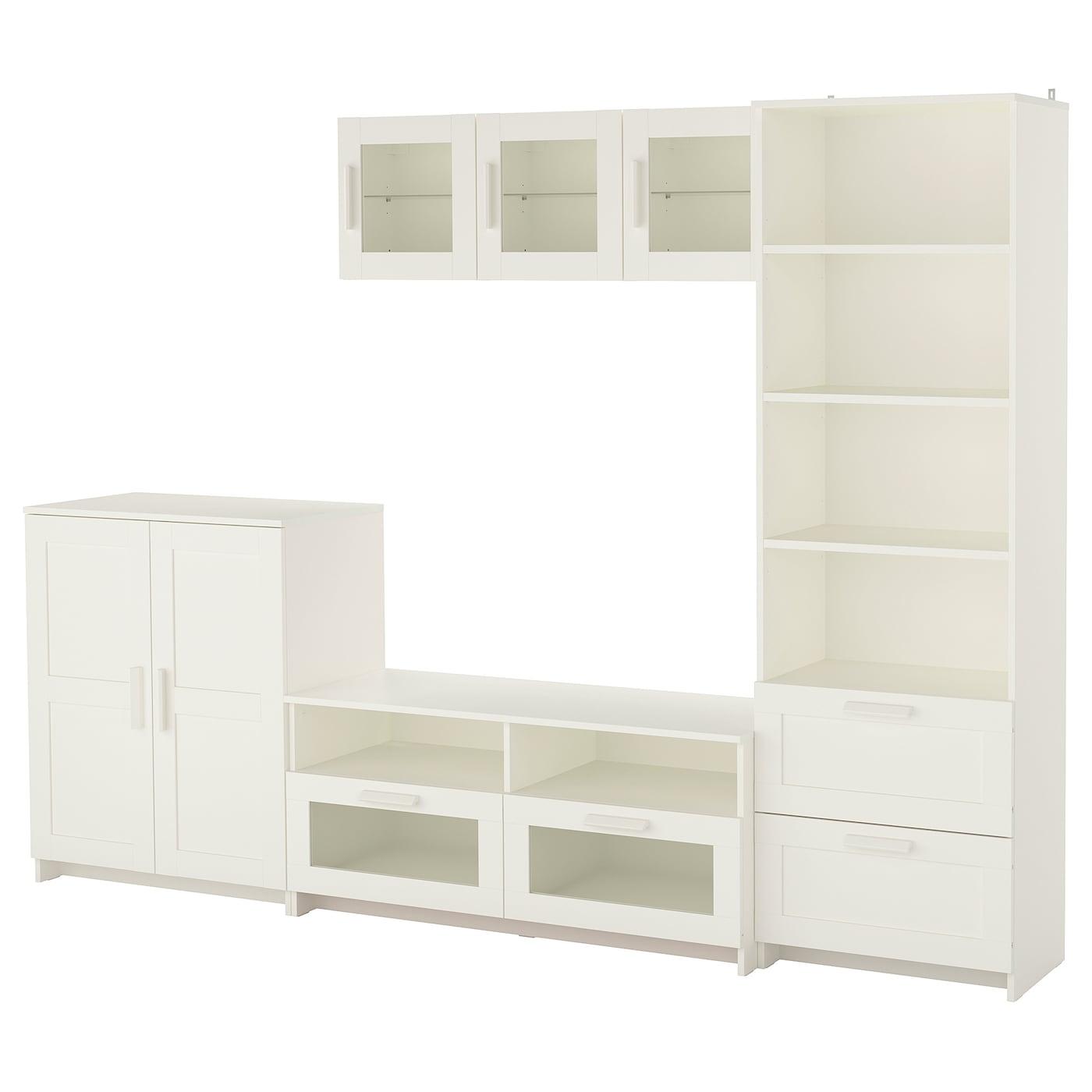 Brimnes Combinaison Meuble Tv Blanc 260x41x190 Cm Ikea # Meuble Tv Porte Vitree